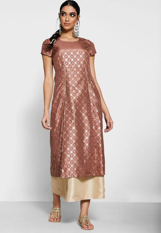 Rose Beige Embellished Double Slit Tunic with Attached Skirt