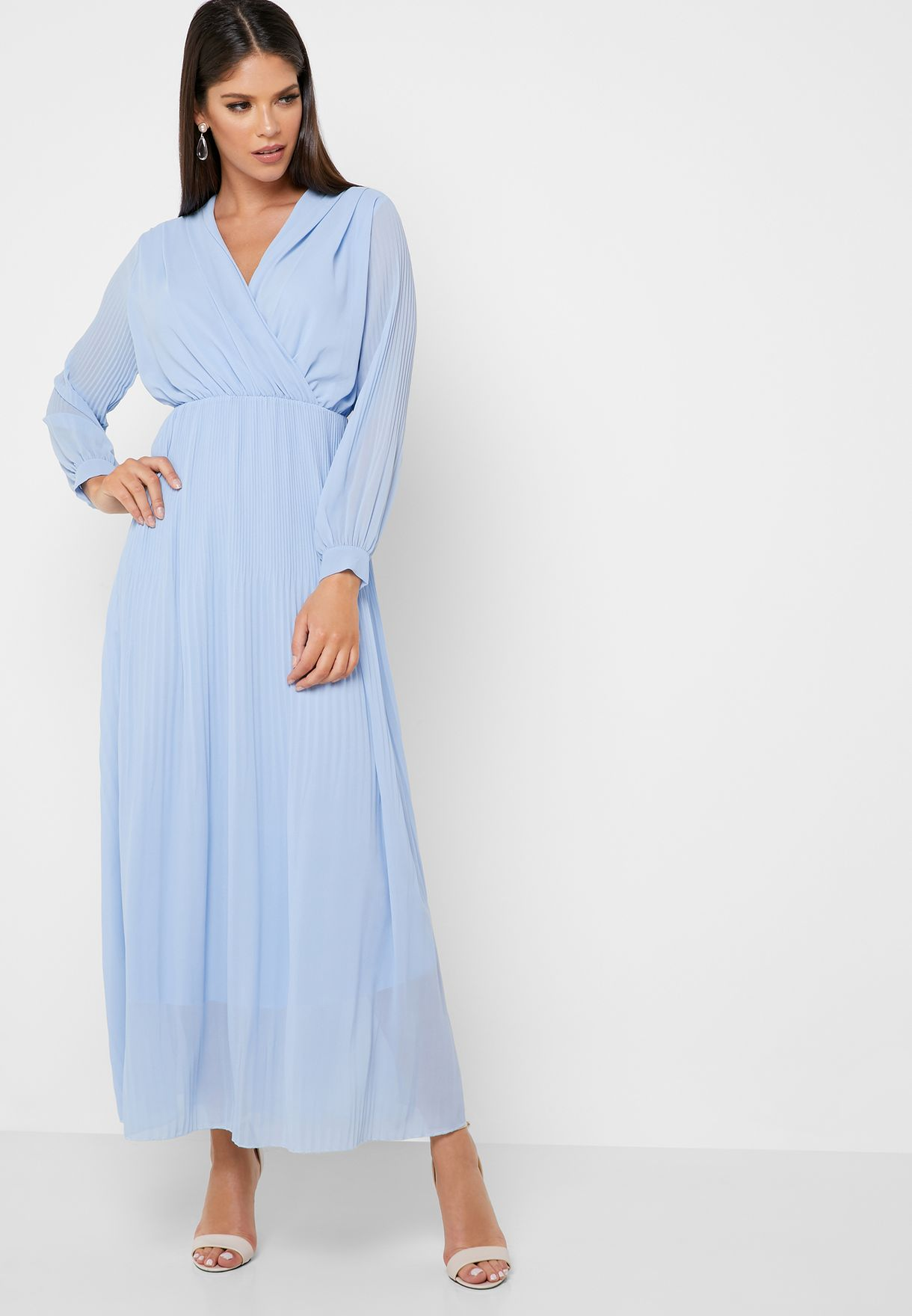 Wrap Front Pleated Skirt Maxi Dress