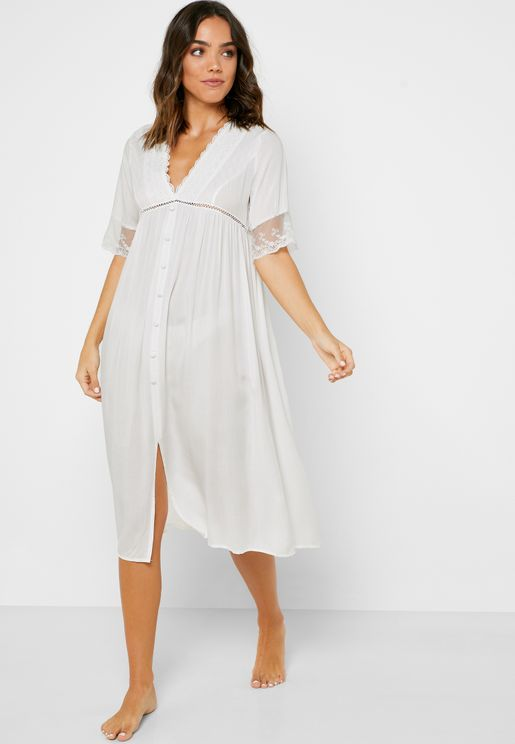 Button Front Lace Detail Nightdress