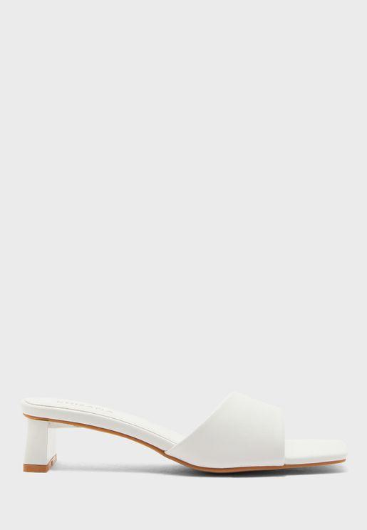 Square Toe Slide On Sandal