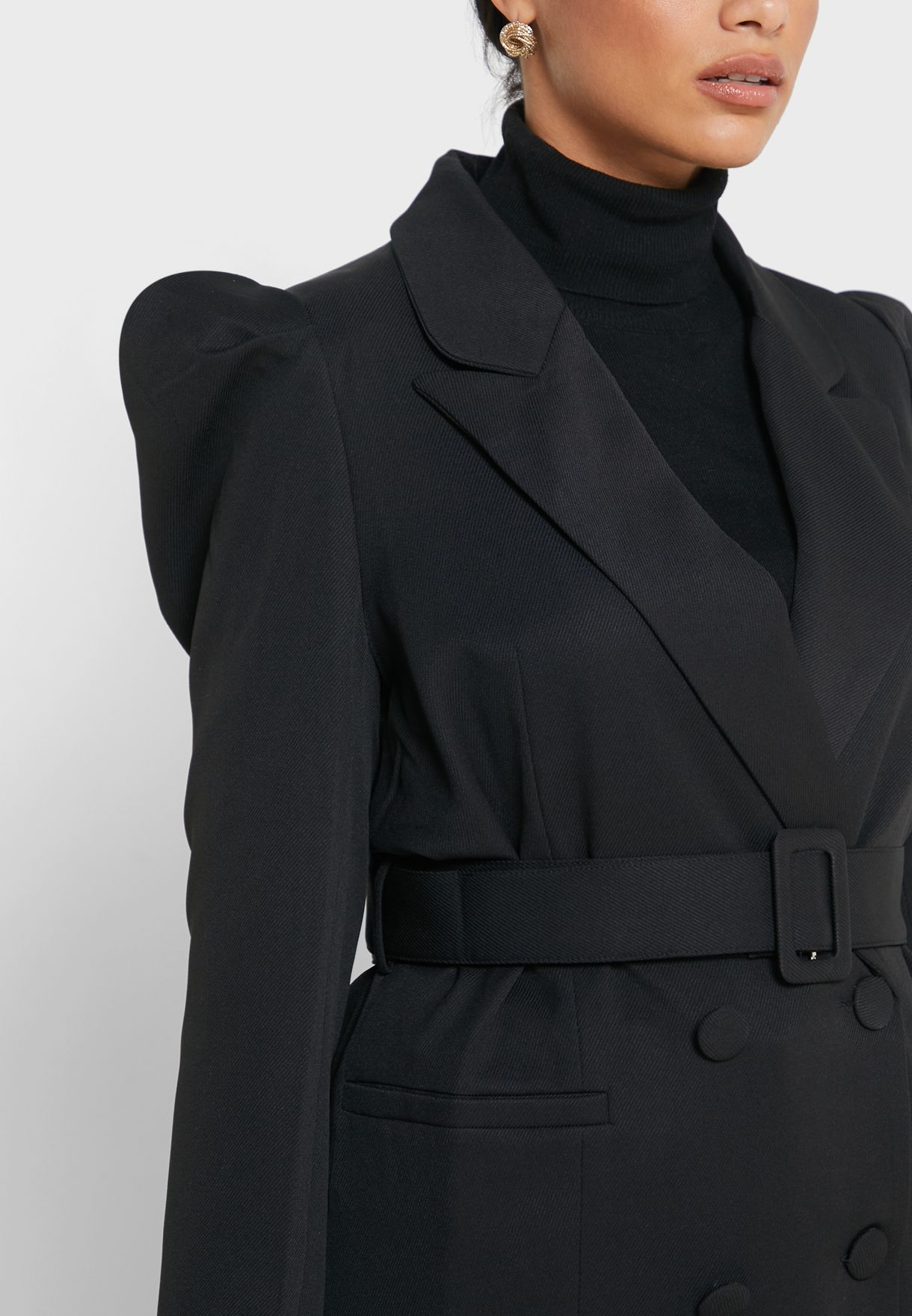 Double Breasted Belted Pocket Blazer
