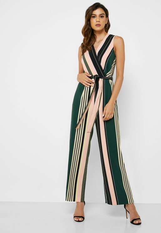 Tie Waist Striped Wrap Jumpsuit