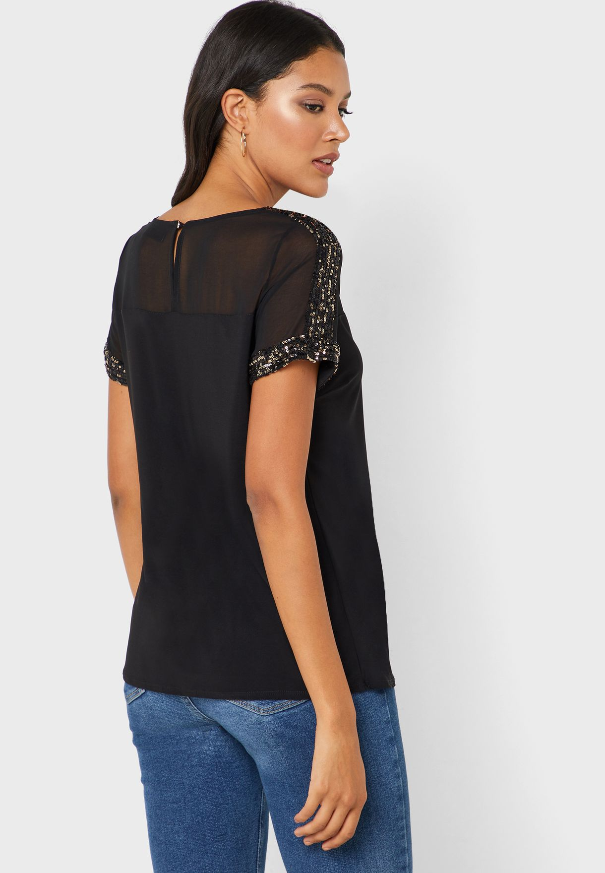 Sheer Sequin Trim Top