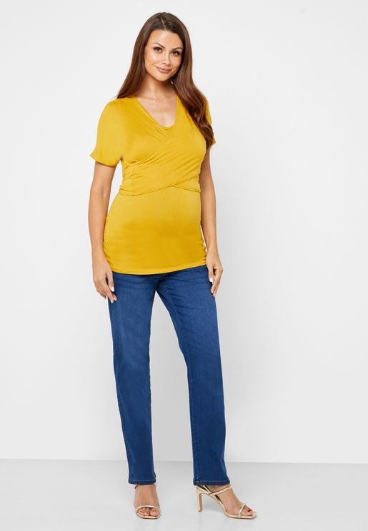 Over Bump Straight Jeans
