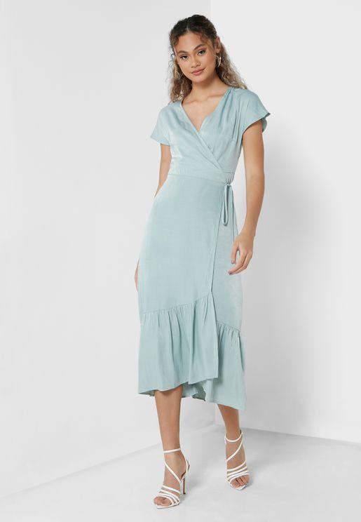 Solid Wrap Dress