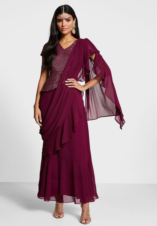 Wine Embroidered Peplum Ruffled Sari Tunic