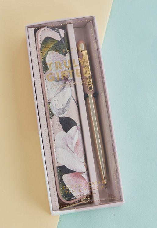 مجموعة قلم وحافظة صغيرة مطبعة