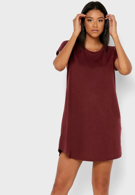 Roll Sleeve T-Shirt Dress