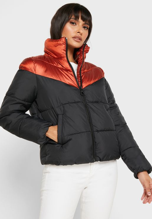 Quilted Zip Detail Jacket