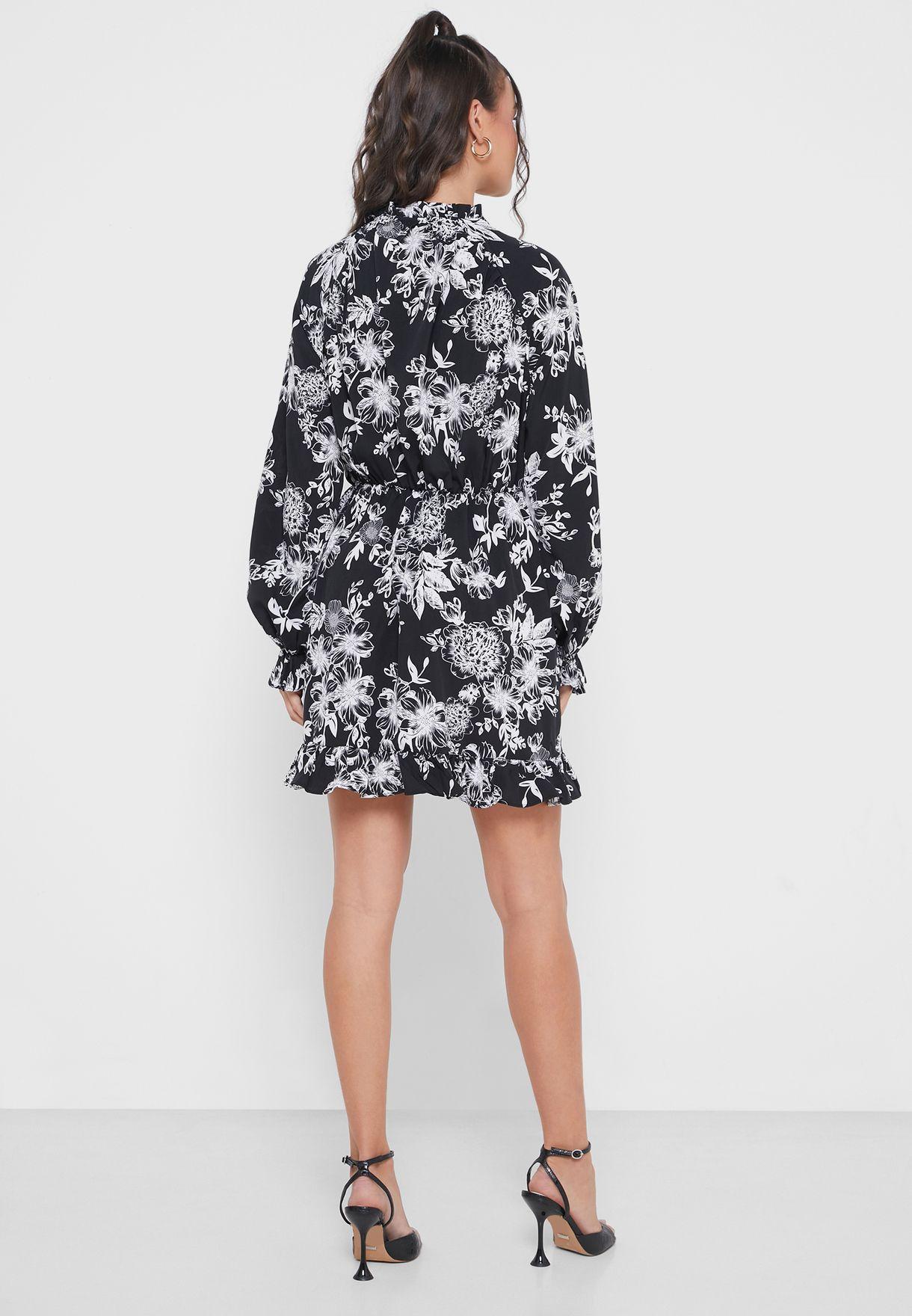 High Neck Ruffle Hem Mini Dress