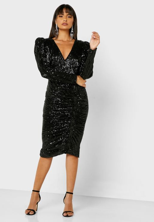 Sequin Ruched Bodycon Dress