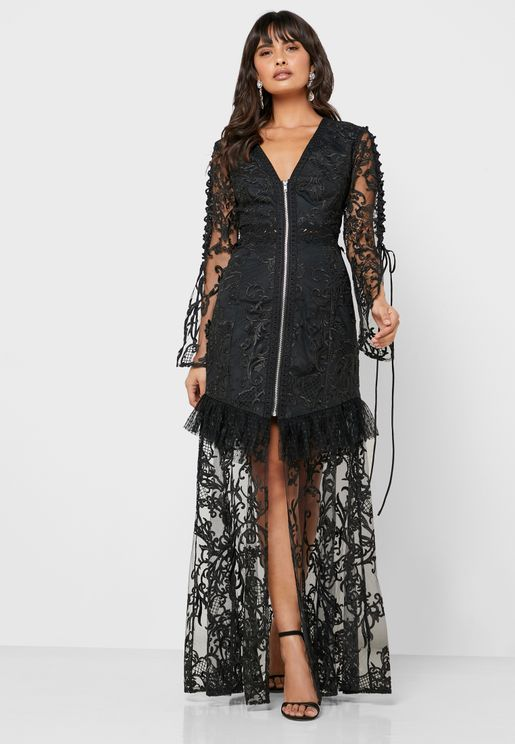 Zip Detail Sheer Lace Dress