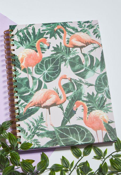 A4 Flamingo Print Notebook
