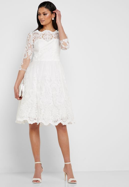 Scallop Edge Lace Dress