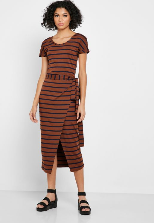 Front Split Striped Dress