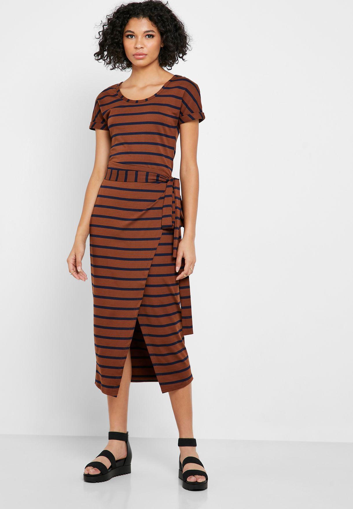 Front Split Striped Dress