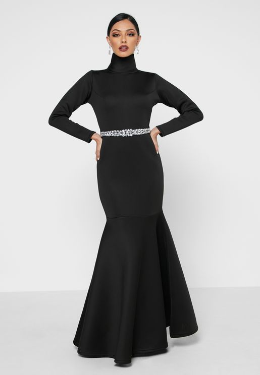 Scuba Detail Belted Dress