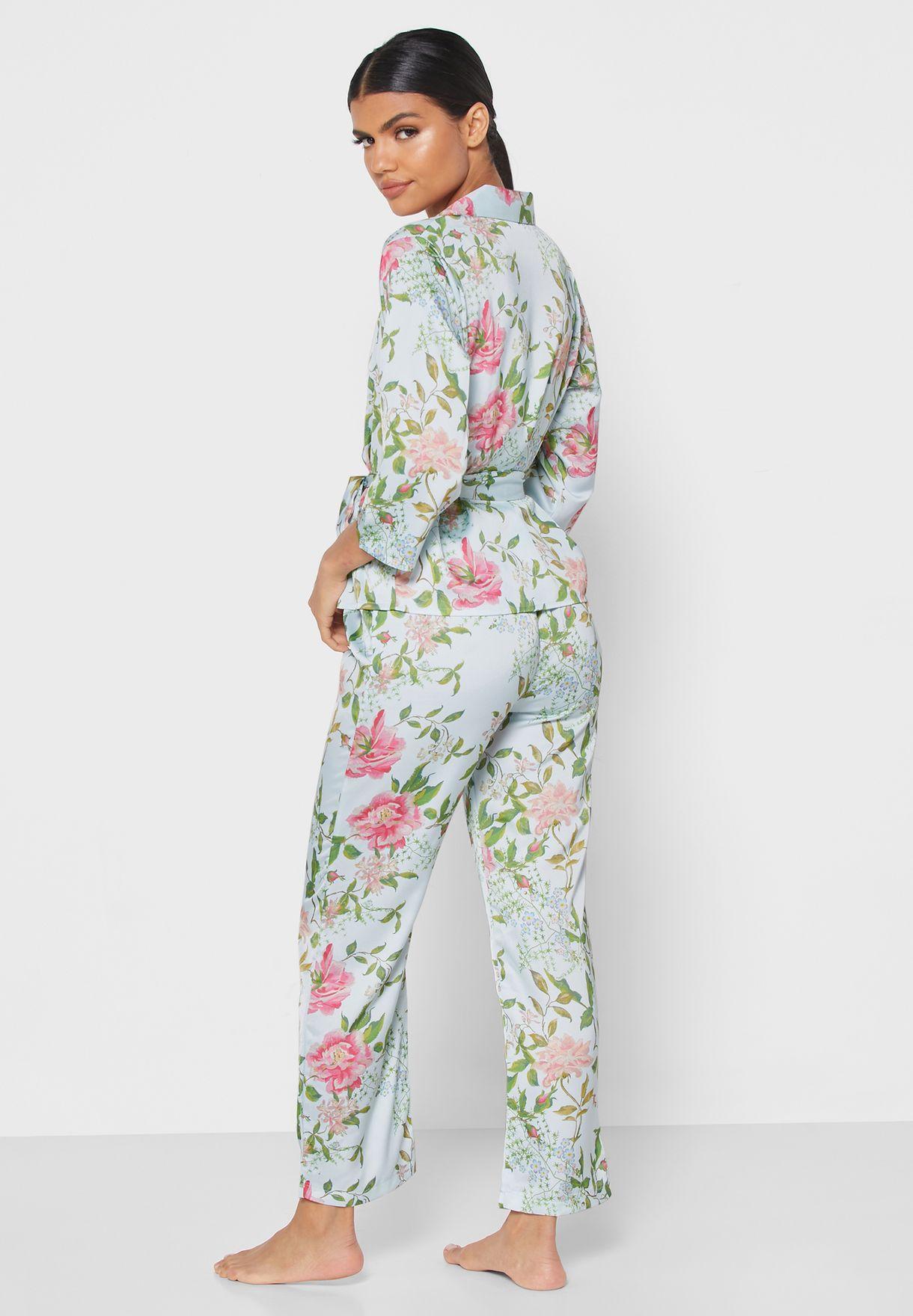 Floral Print Wrap Front Pyjama Set