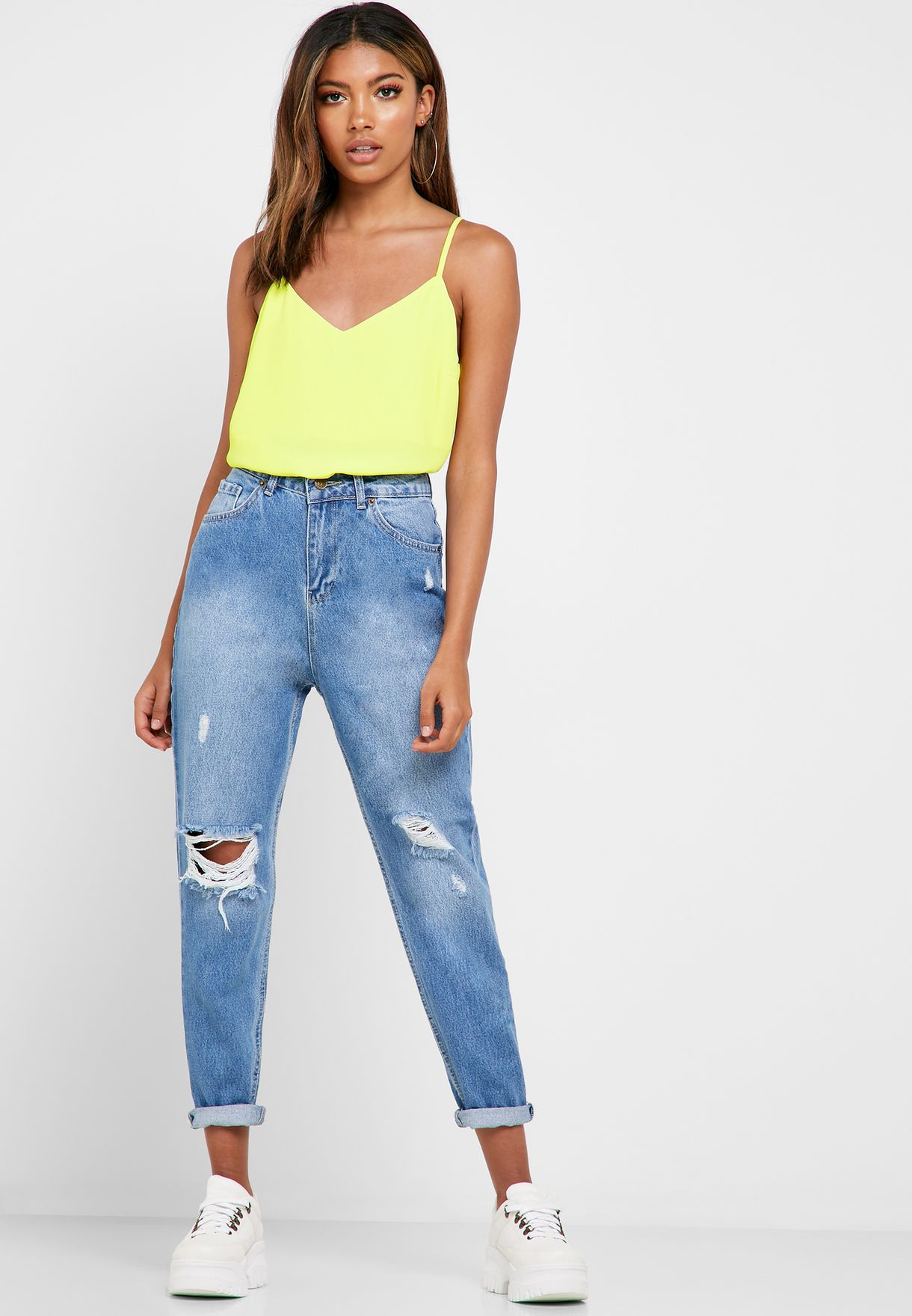 High Waisted Ripped Mom Jeans