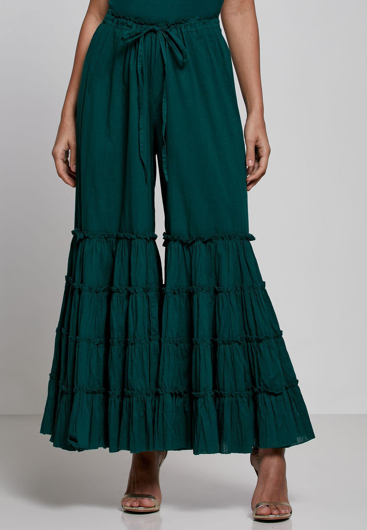 طقم  (كورتي بنمط فستان + بنطال بقصة واسعة)