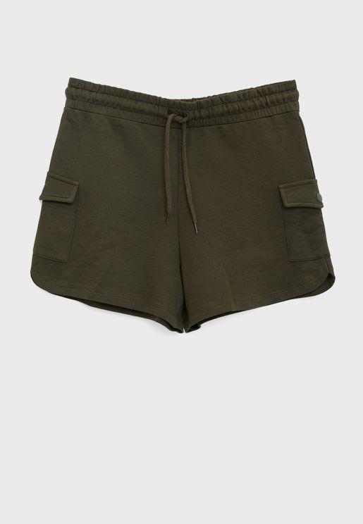 Pocket Detail Tie Waist Shorts