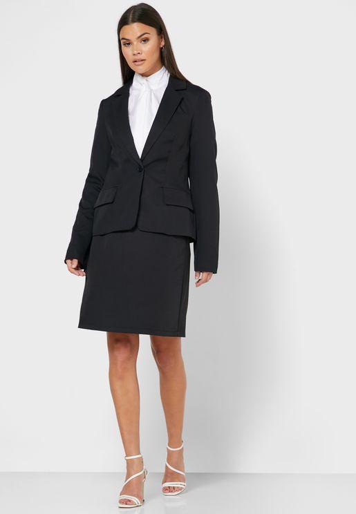Longline Blazer Midi Skirt Set