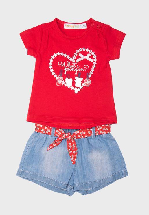 Kids Graphic Top + Shorts Set