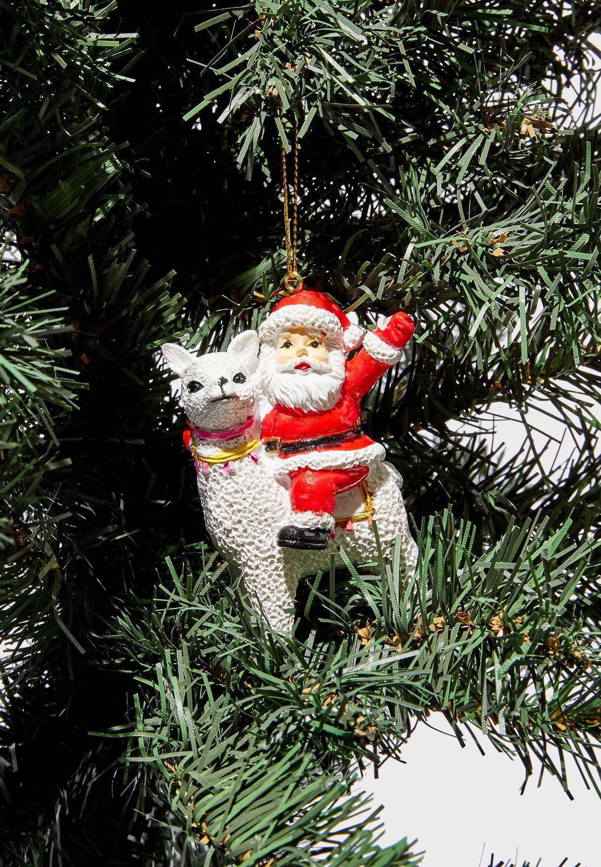 Santa Riding Alpaca Bauble