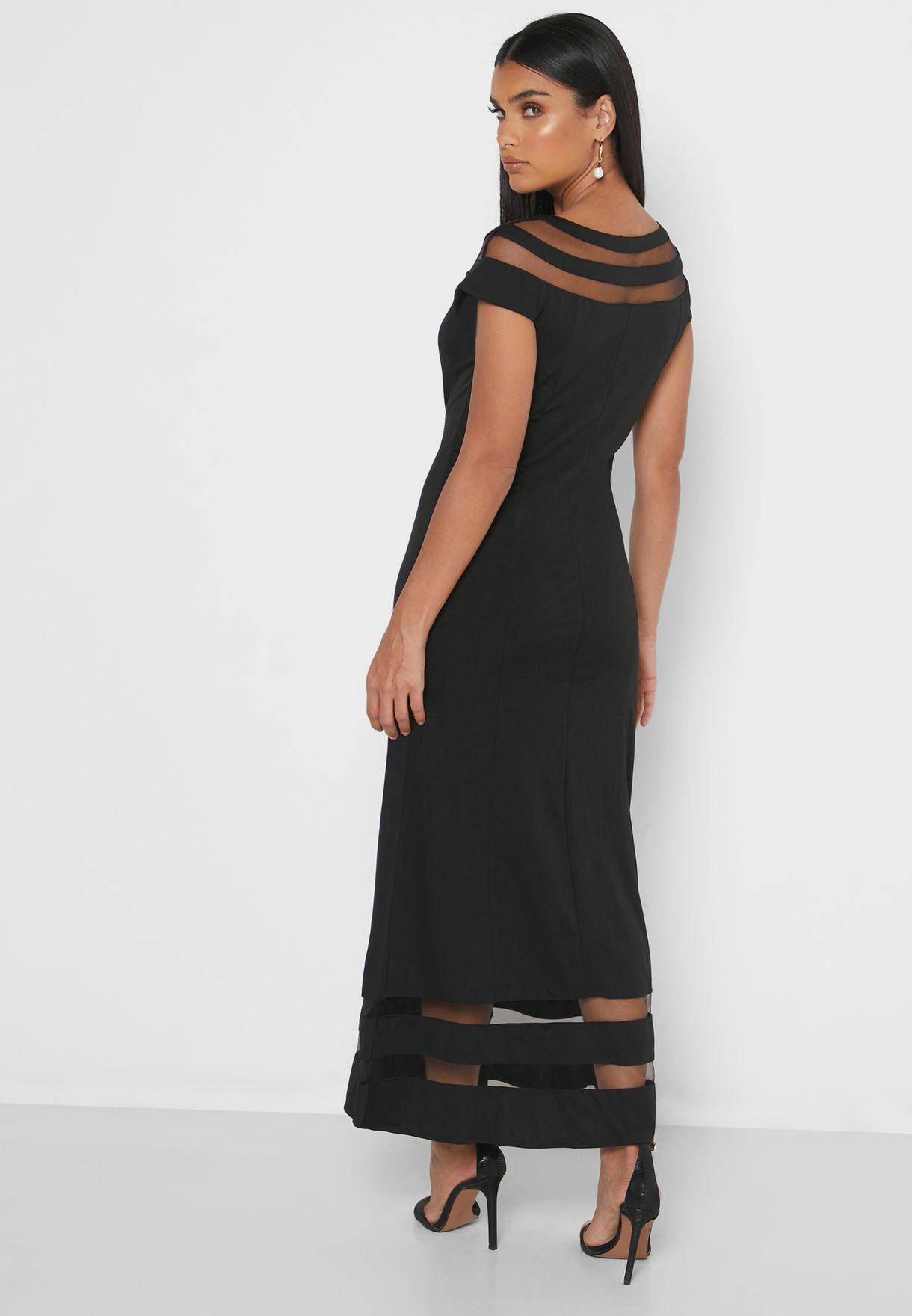 فستان ماكسي بأطراف شفافة