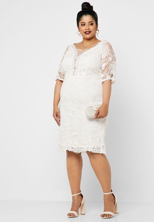 Lace Insert Off Shoulder Dress