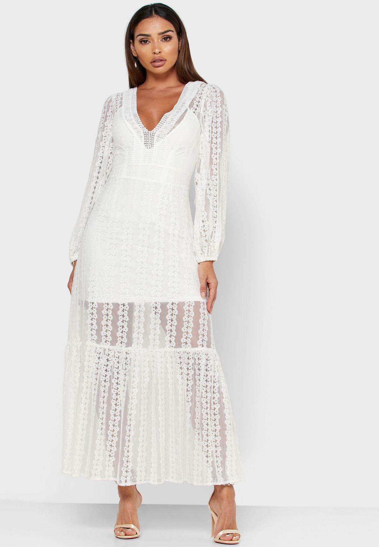 Karmen Mesh Sleeve Plunge Dress