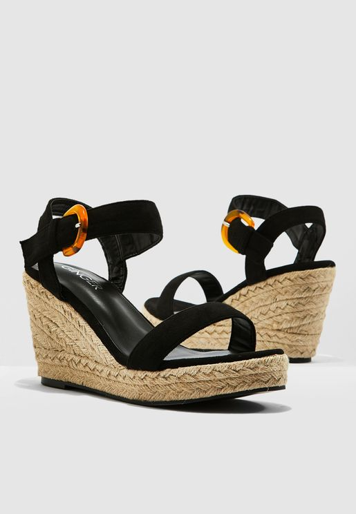 6c364d5b6 Wedge Sandals With Buckle Detail