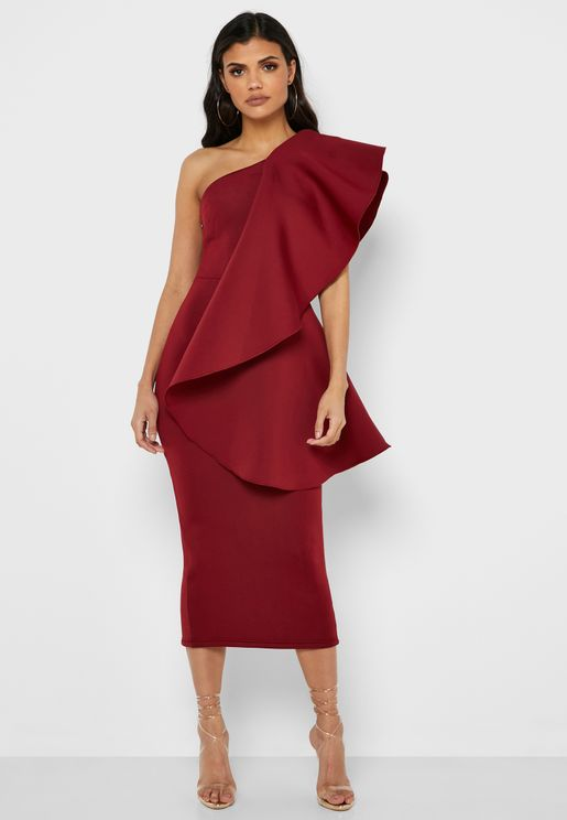 One Shoulder Ruffle Hem Dress