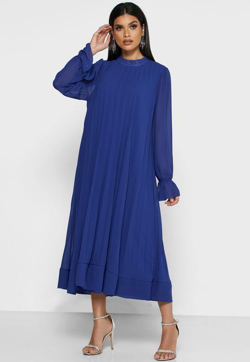فستان ميدي بأساور كشكش