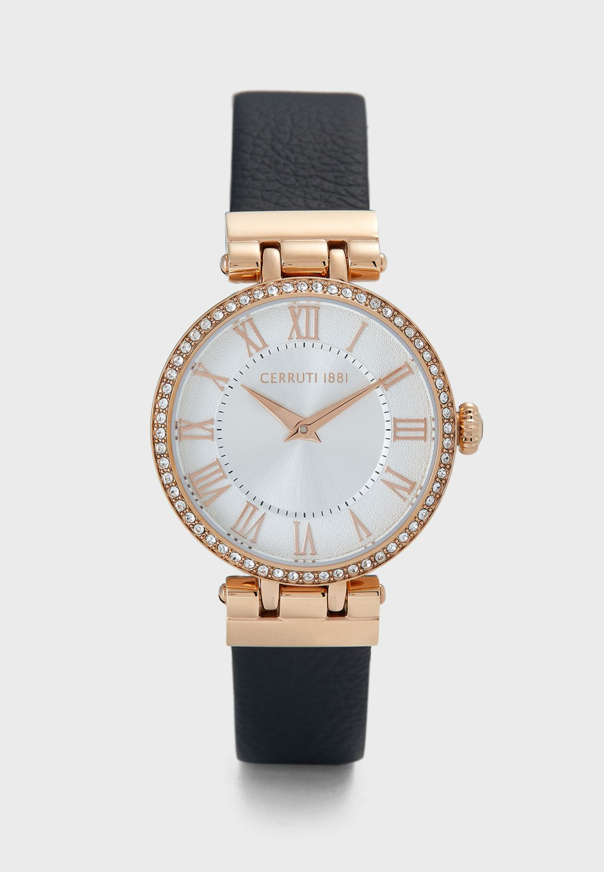 Elettra Leather Strap Analog Watch