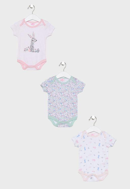 Infant 3 Pack Rabbits Bodysuits