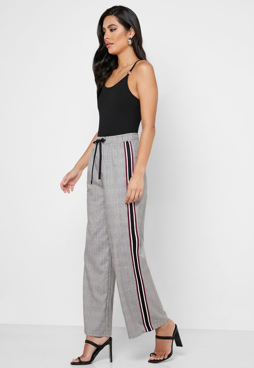 Checked Side Striped Wide Leg Pants