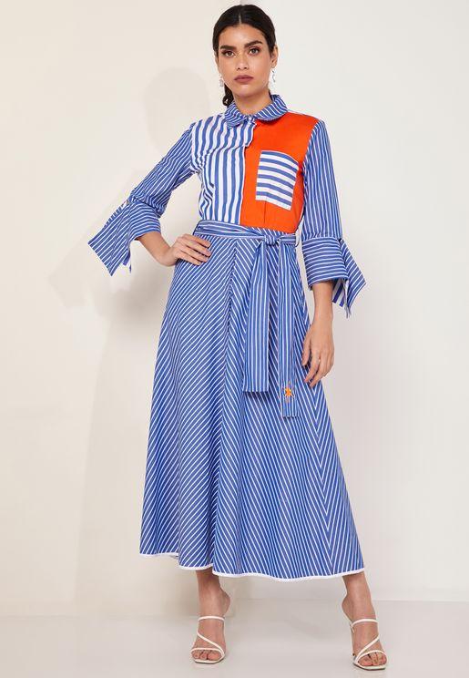 فستان ماكسي مخطط وبنمط كتل الالوان