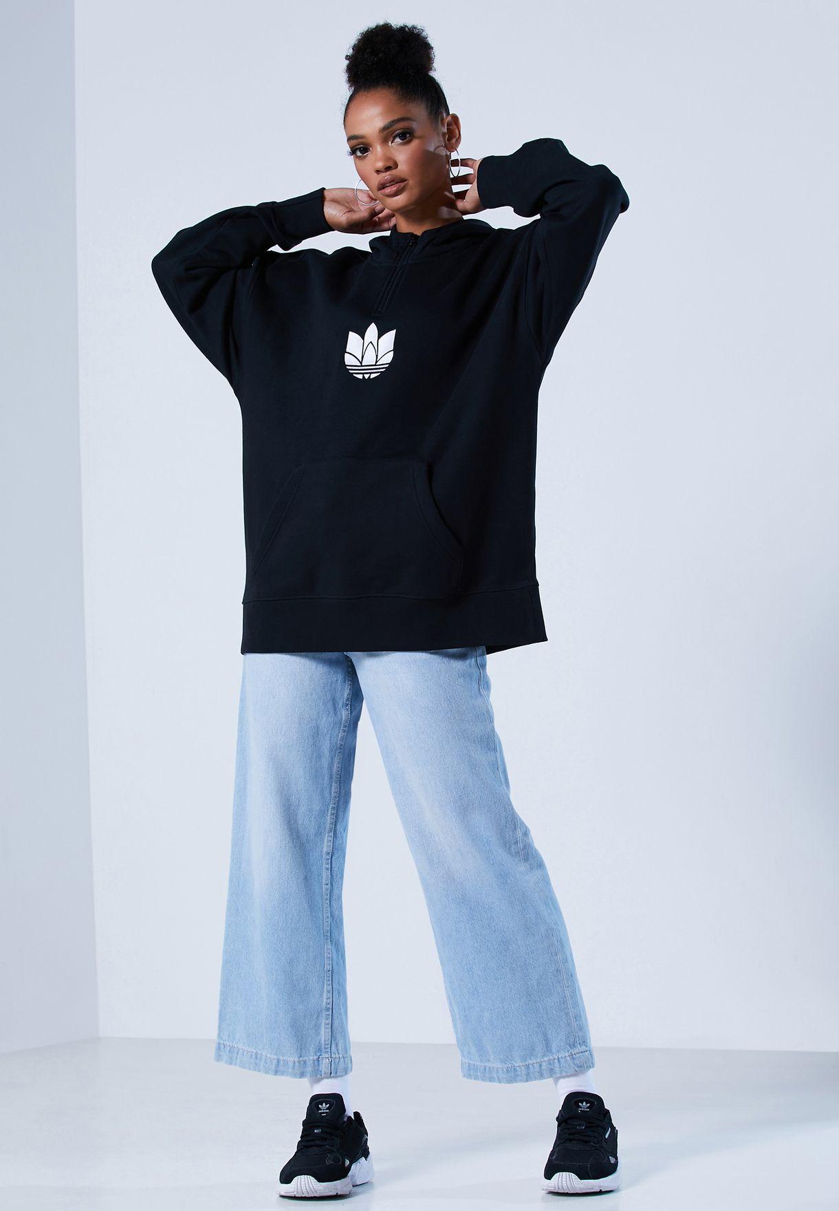 Half Zip Adicolor Casual Women's Sweatshirt Hoodie