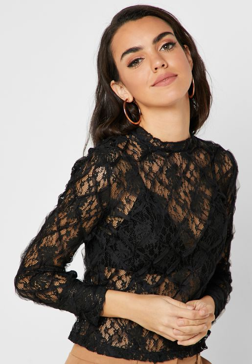 1b198662a6b18 High Neck Lace Top