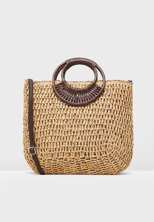 0d2a0b4f08a65 Wakiki Weave Straw Effect Handle Tote
