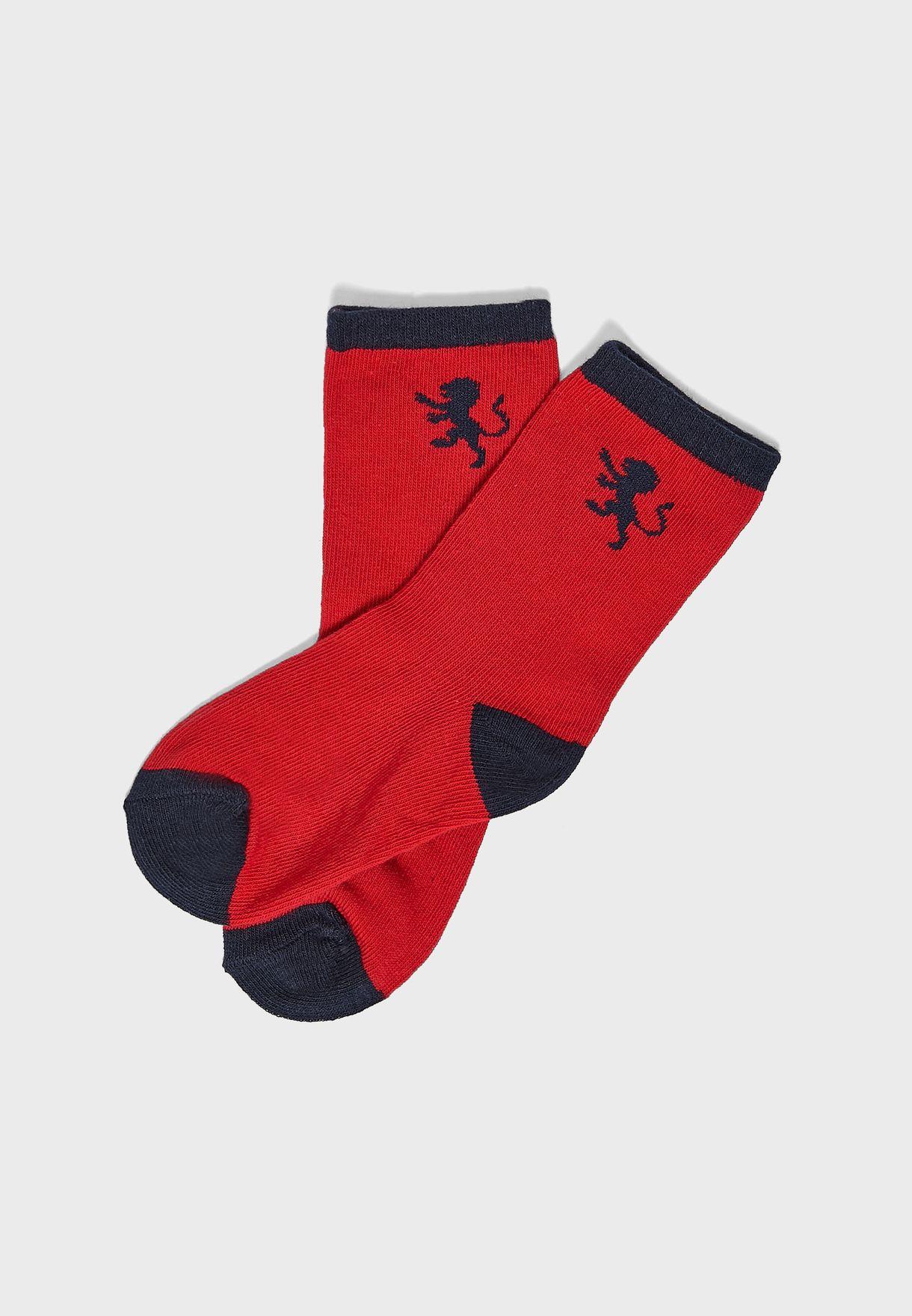 Kids 5 Pack Lion Stripe Socks