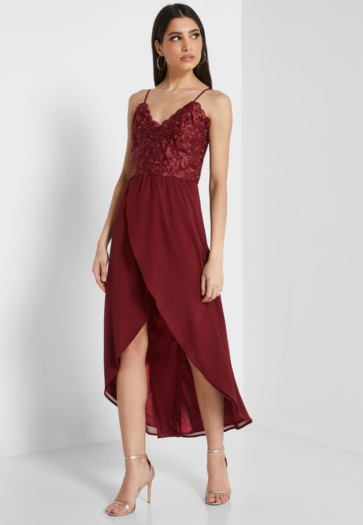 Lace Cami Wrap Dress