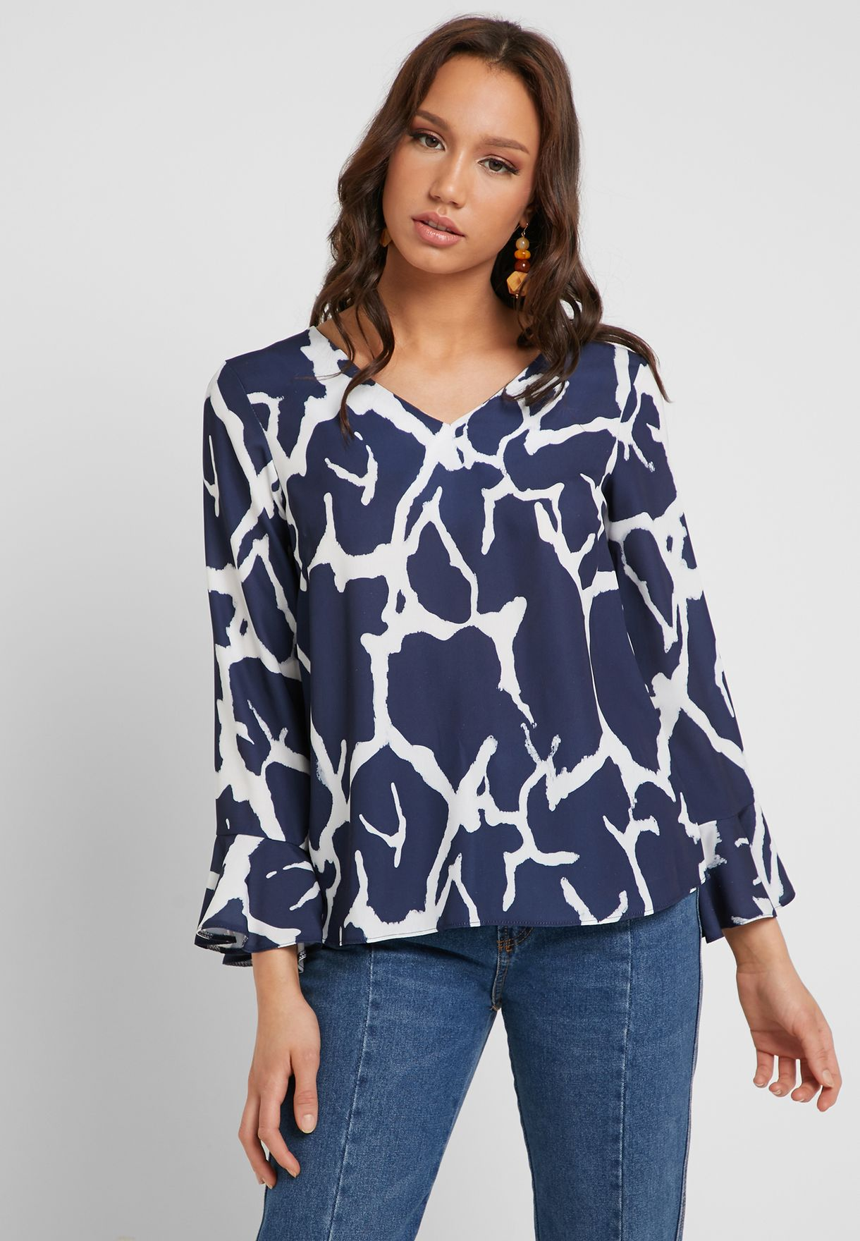 Bell Sleeve Printed V-Neck Top