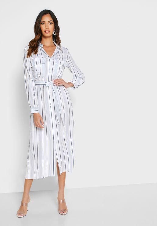 فستان ميدي بنمط قميص مع طبعات خطوط