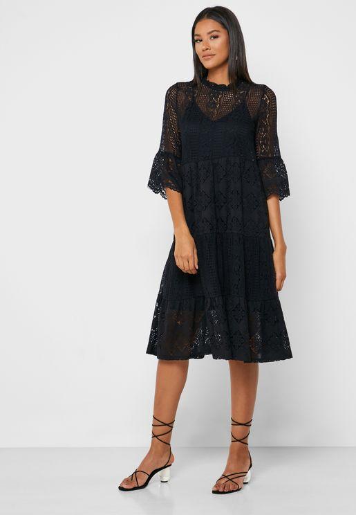 High Neck Lace Detail Dress