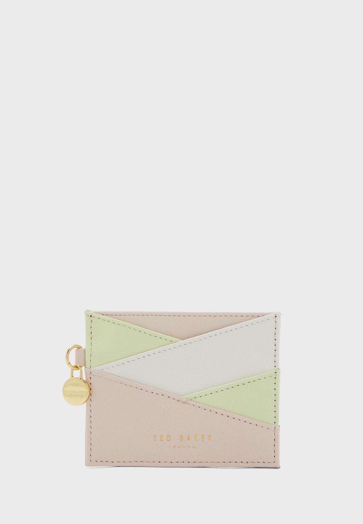 محفظة بطاقات جلد مزينة بشعار الماركة