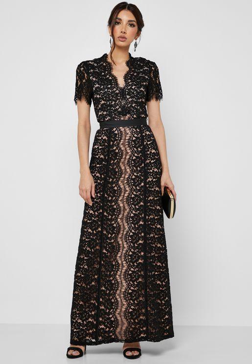 720ce73ca88b Lace Short Sleeve Maxi Dress