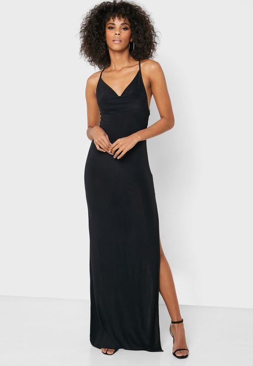 Cowl Front Bodycon Maxi Dress With Cross Over Back