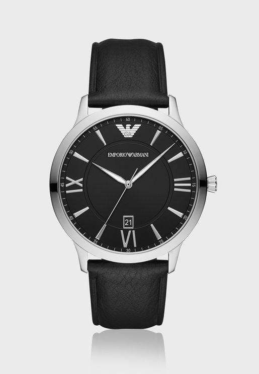 ساعة كلاسيكية بحزام جلد اصلي AR11210